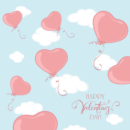 Red Valentine balloons in the form of Heart on blue sky background. Lettering Happy Valentines Day, illustration.