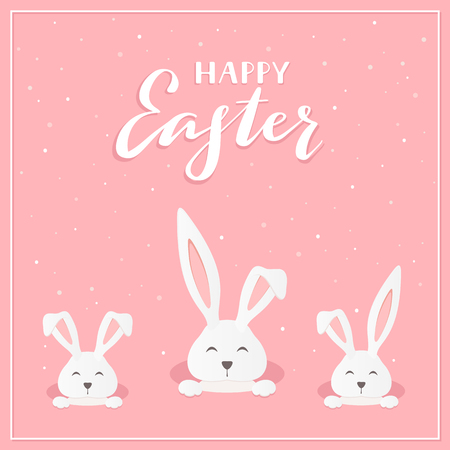 Three rabbit heads in the hole and lettering Happy Easter on a pink background, illustration.