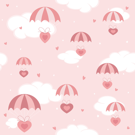 Pink Seamless holiday background. Valentines hearts flying on parachutes in the sky, illustration. Ilustração