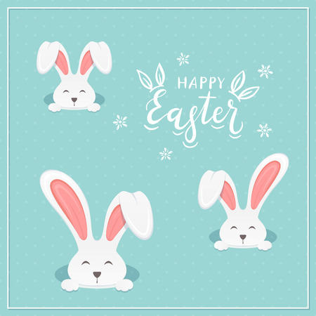 Rabbit heads in the hole and lettering Happy Easter on a blue background, illustration.