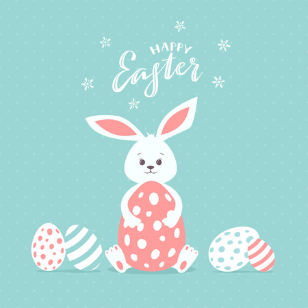 Holiday lettering Happy Easter with rabbit and painted eggs on blue background, illustration.