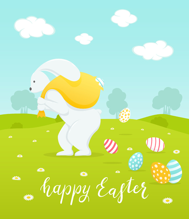 Holiday lettering Happy Easter with rabbit and big sack with painted eggs, illustration.