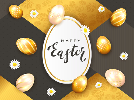 Golden Easter eggs with flowers and lettering Happy Easter. Holiday card in the form of egg on gold and black luxury background with geometric elements, illustration. Banque d'images - 117977342