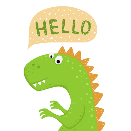 Head of cute green dinosaur isolated on white background. Funny cartoon character and speech bubble with text Hello, illustration.