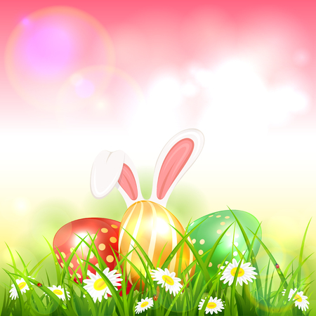 Easter theme with bunny ears and colorful eggs on grass with flowers. Pink nature background with white rabbit and three Easter eggs, illustration.