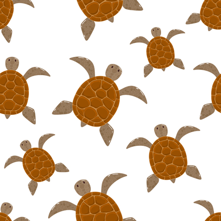 Seamless pattern with cute turtles isolated on white background, illustration.