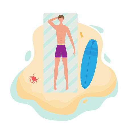 Surfer man in purple trunks sunbathing on the sea or ocean beach. Boy lying on a towel with a surfboard and sunscreen. Near the sand crawling crab, illustration. Illustration