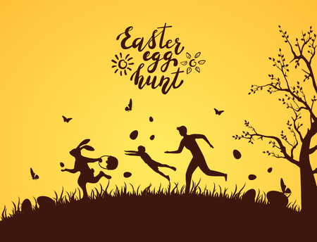 Silhouette of Easter rabbit with eggs runaway from people. Lettering Easter Egg Hunt on orange background, illustration. Vector Illustratie