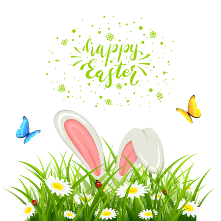 Easter theme with bunny ears in grass isolated on white background. Lettering Happy Easter with butterflies and white rabbit, illustration.