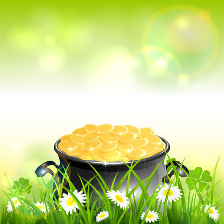 Cauldron with gold of leprechaun in grass with clover. St. Patrick's Day theme on green nature background, illustration.
