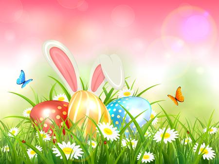 Osterthema mit Hasenohren und bunten Eiern. Rosa Naturhintergrund mit Schmetterlingen, weißem Kaninchen und drei Ostereiern im Gras mit Blumen, Illustration.