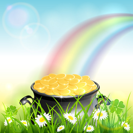 Cauldron with gold of leprechaun in grass with clover and colorful rainbow. St. Patrick's Day theme on blue nature background, illustration.