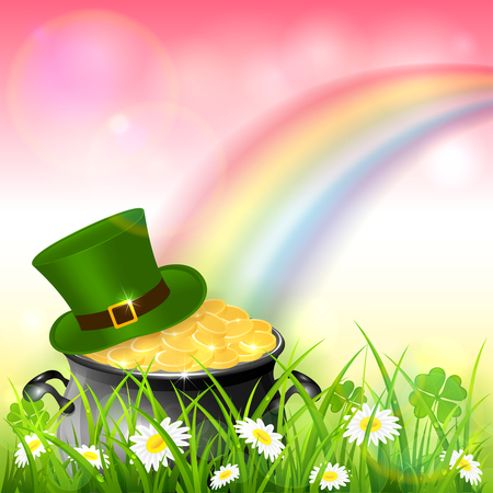 Green hat and cauldron with gold of leprechaun in grass with clover and colorful rainbow. St. Patrick's Day theme on pink nature background, illustration.
