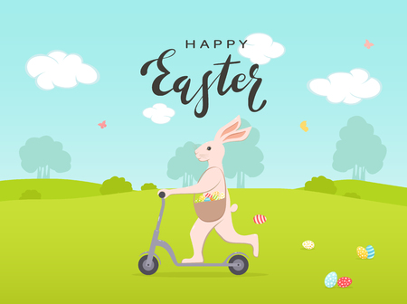 Holiday theme with painted Easter eggs and cute bunny on a scooter. Lettering Happy Easter on sky background, illustration.