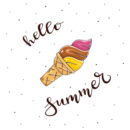 Colorful Ice cream isolated on white background and lettering Hello Summer, illustration. Illustration