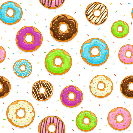 Seamless background with glazed donuts and colorful sprinkles isolated on white background, illustration.