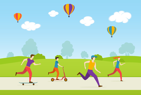 People ride on a skateboard, scooter, walk and play sports in the Park. Men and women healthy lifestyle. Cartoon illustration of World Health Day, illustration. 向量圖像
