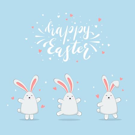 Conjunto de conejitos de Pascua con corazones y estrellas. Rotulación Feliz Pascua sobre fondo azul, ilustración.