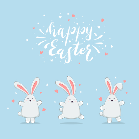 Set of little Easter rabbits with hearts and stars. Lettering Happy Easter on blue background, illustration.