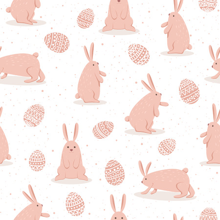 Set of cute Easter rabbits with eggs on white background. Seamless pattern with pink happy bunny for Easter, illustration.