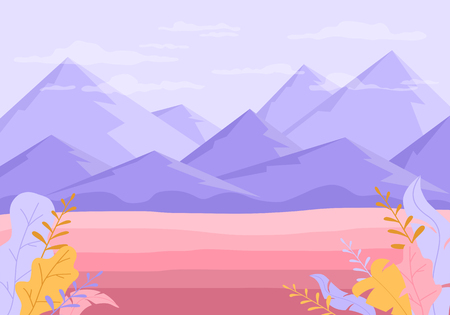 Abstract nature background with mountains. Purple rocks and pink valley with plants, illustration.