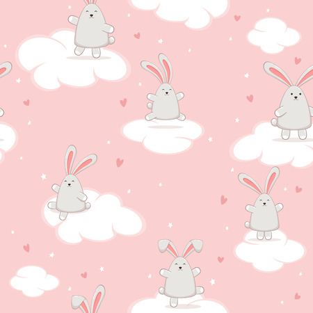 Pink seamless background for Valentines Day or Easter. Cute rabbit in the sky with hearts, illustration.