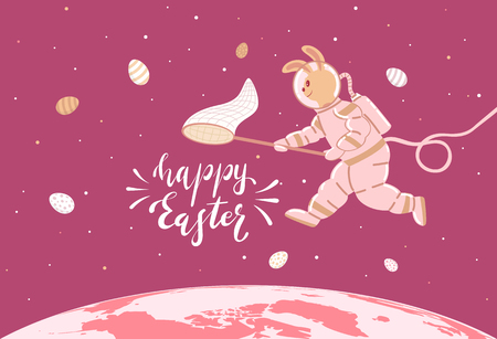 Easter Bunny in a spacesuit collects eggs. Lettering Happy Easter in space, illustration.