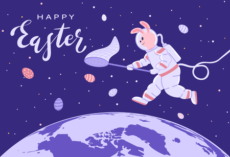 Easter Bunny in a spacesuit collects eggs. Lettering Happy Easter in blue space, illustration.