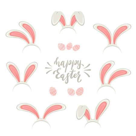 Set of Easter mask with pink rabbit or bunny ears isolated on white background. Lettering Happy Easter with eggs, illustration. 矢量图像