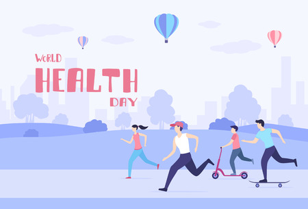 People ride on a skateboard, scooter and play sports in the Park. Men and women healthy lifestyle. Cartoon image in purple tones and lettering World Health Day, illustration.