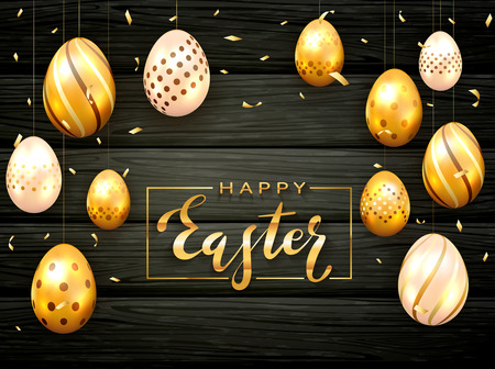 Card with lettering Happy Easter and golden Easter eggs on black wooden background with confetti and luxury elements, illustration. Banque d'images - 120963097