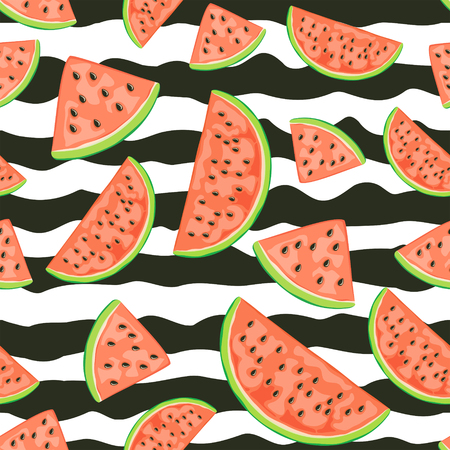 Seamless wallpaper with red juicy watermelon slices. Ripe fruit on white background with black lines, illustration.