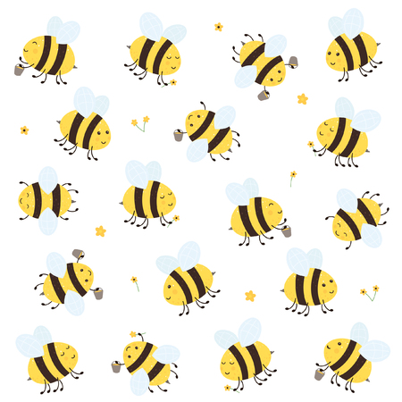 Cartoon happy bees with honey and flowers isolated on white background, illustration.