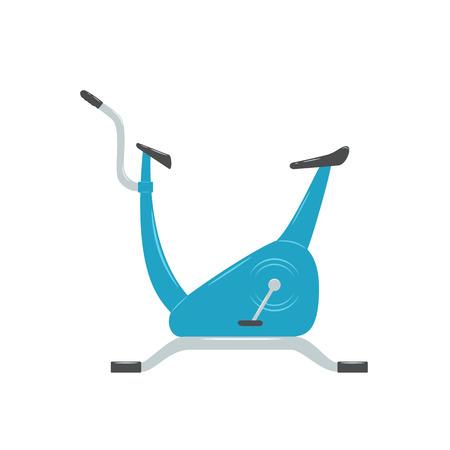 Blue exercise bike isolated on white background, illustration. Illustration