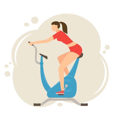 Femme exerçant sur vélo stationnaire bleu, illustration. Vecteurs