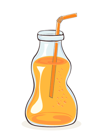Glass or plastic bottle with orange color drink and straw. Orange juice or beer. Image can be used for clothing design, t-shirts, sweatshirts, menu and other, illustration.