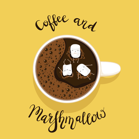 Cup of coffee with little happy marshmallows. Black lettering Coffee and Marshmallow on yellow background, illustration.