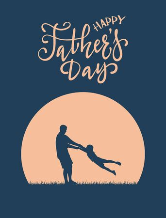 Silhouette of father and son with lettering Happy Fathers Day. The concept of happy family on blue night background can be used for cards, posters, banners, illustration.