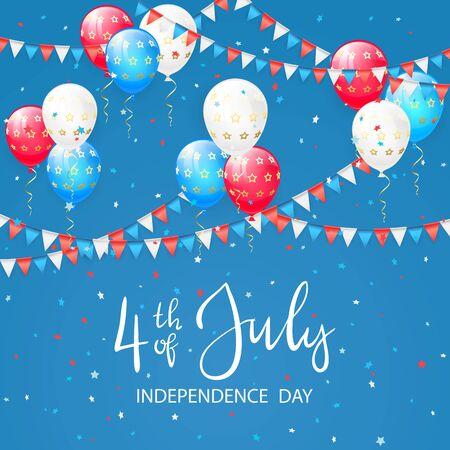 Globos rojos, azules y blancos, banderines y confeti sobre fondo de vacaciones. Tema del Día de la Independencia, se puede utilizar para tarjetas, carteles y pancartas, ilustración.