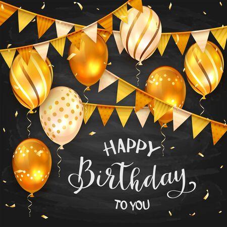 Chalk lettering Happy Birthday on blackboard background. Holiday balloons, pennants and confetti, illustration. Vector Illustration