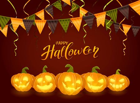 Lettering Happy Halloween with pennants, streamers and set of smiling orange pumpkins on dark background, illustration.