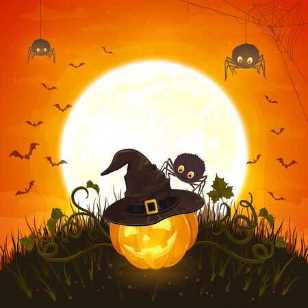 Smiling pumpkin with hat of witch and cute spiders on orange background with moon. Halloween theme with Jack O Lantern. Illustration can be used for holiday cards, invitations and banners. Ilustração