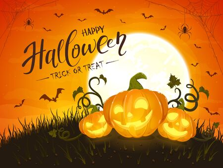 Three smiling pumpkins and lettering Happy Halloween on orange background with moon. Holiday card with Jack O Lanterns, bats and spiders. Illustration can be used for holiday cards, invitations and banners. Ilustração
