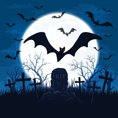 Halloween background with scary bats flying over the cemetery. Old gravestone and full Moon on blue night sky. Illustration can be used for holiday cards, invitations and banners. Stock Illustratie