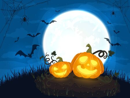 Two Happy pumpkins and moon on blue night background. Halloween card with smiling Jack O Lanterns, bats and spiders. Illustration can be used for holiday cards, invitations and banners. Ilustração