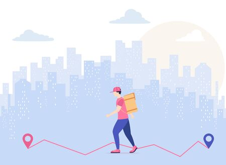 Man delivering the food is walking through the city. Fast food courier service concept. Urban landscape and delivery man with box, illustration.