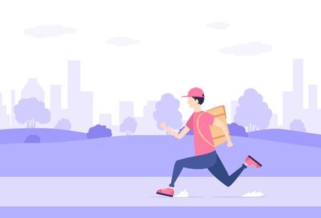 Man delivering the food is running through the park. Fast food courier service concept. Urban landscape and delivery man with box, illustration.