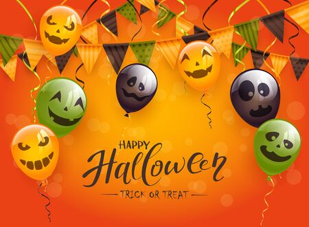 Lettering Happy Halloween and Trick or Treat on orange background with black and green scary balloons, pennants and streamers. Illustration can be used for holiday cards, invitations and banners. Illustration