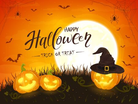 Smiling pumpkins with hat of witch. Text Happy Halloween and Trick or Treat on orange background with moon. Jack O Lanterns, bats and spiders. Illustration can be used for holiday cards and banners.