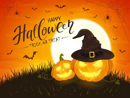 Two smiling pumpkins with hat of witch and lettering Happy Halloween on orange background with moon. Jack O Lanterns, bats and spiders. Illustration can be used for holiday cards, invitations, banners.